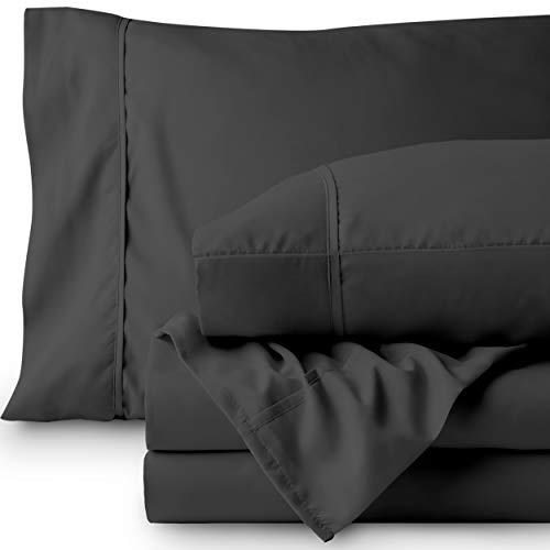 Bare Home Premium 1800 Ultra-Soft Microfiber Collection Sheet Set - Double Brushed - Hypoallergenic - Wrinkle Resistant - Deep Pocket (Full, Grey)