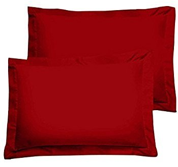 600 Thread Count Hotel Collection 100% Egyptian Cotton Pillow Shams Set of 2-PCs, Standard Size, Red Color By RK Linen { Pattern : Solid - Standard Red Sham