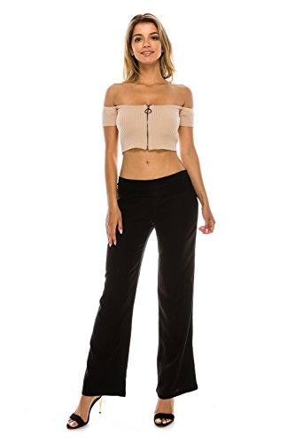 - The Classic Women's Comfy Fold Over Linen Wide Leg Pants (Small, Black)