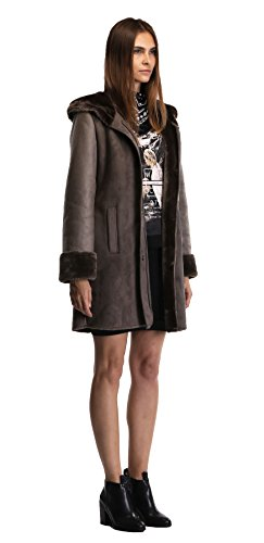 Enjoy fur Women's 2016 New Style Dark Bronze Faux Leather Coat With Hood (X-Large) by Enjoy fur (Image #5)