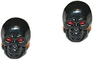 2er Set Ventilkappen - Totenkopf mit roten Augen - in schwarz für Motorrad