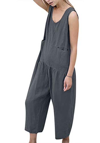 LAMOSKY Women Loose Fit Jumpsuits Sleeveless Long Wide Leg One Piece Pant with Pockets Solid Color Rompers Size XL (Grey) ()