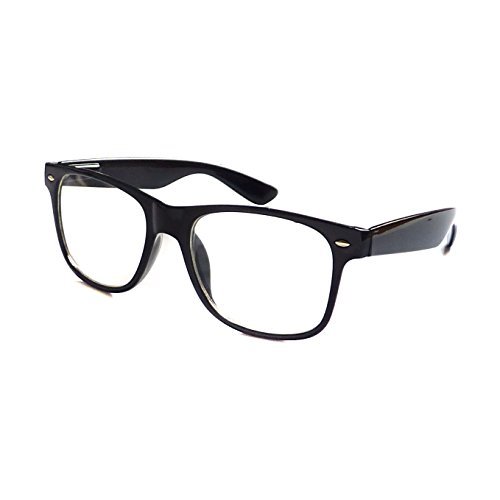KIDS Childrens Nerd Retro Oversize Black Frame Clear Lens Eye Glasses (Age - Plastic Frame Clear Eyeglasses