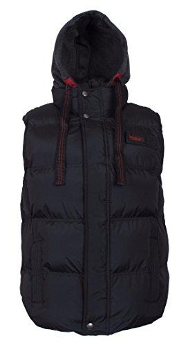 Sleeveless Bubble (J. Whistler Rocky Mens Bubble Insulated Vest Hood Puffer Jacket Black)