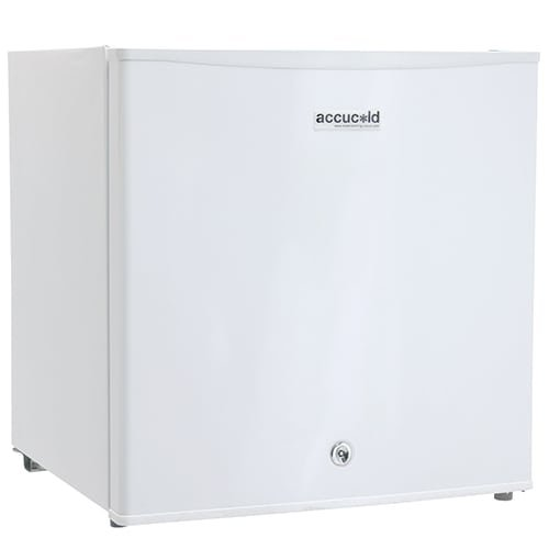 "Summit AccuCold FS24L 19"" Upright Freezer with 1.4 cu. ft. Capacity, Factory Installed Lock, Manual Defrost, Removable Shelf Removable Shelf and Adjustable Thermostat, in White"