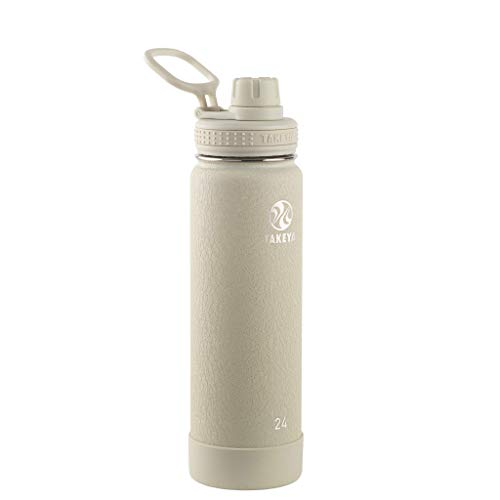 Takeya Actives Insulated Stainless Steel Water Bottle with Spout Lid, 24 oz, Sand