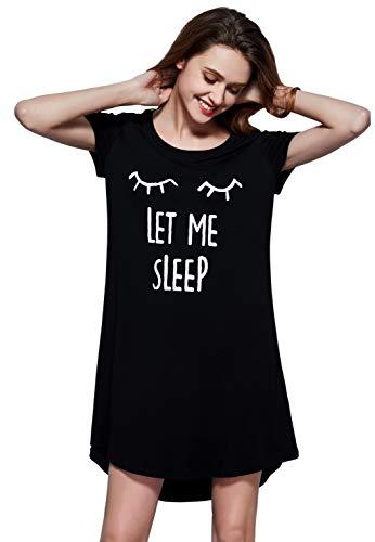 (GUANYY Sleepwear Women's Nightgown Cotton Sleep Shirt Printed Short Sleeve Soft Nightshirt(Black Print,XX-Large))