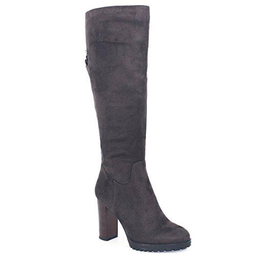 sur couleur Hiver Solide ZAPROMA genoux bottes hautes unie Chunky Marron Automne Zipper couleur les Automne xIBw5w0qz
