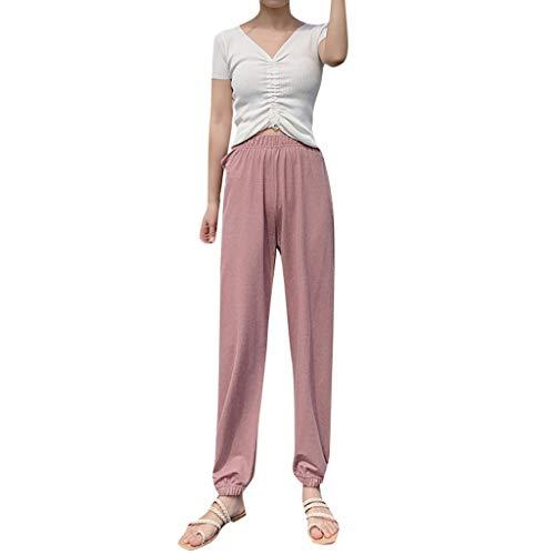 (Nihewoo Women Lounge Pants Loose Latern Pants Long Pants High Waist Pants Palazzo Comfy Pants Trousers Pink)