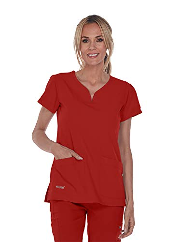 Grey's Anatomy Signature 2121 Women's 2 Pocket Notch Yoke Neck with Tab Scrub Top Tuscany XS