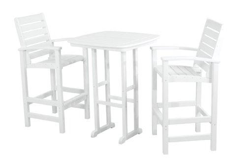 (POLYWOOD PWS153-1-WH Signature 3-Piece Bar Set, White)