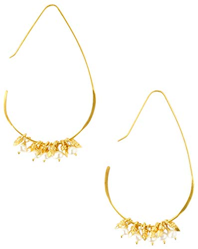 (Chan Luu Women's Gold Earrings with Semi Precious Stones White Pearl One Size)