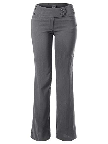 Design by Olivia Women's High Waist Slim Boot-Cut Stretch Dress Pants Trousers Charcoal L