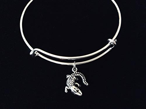 Alligator Silver Expandable Charm Bracelet Adjustable Bangle One Size Fits All Gift Crocodile Jewelry One Size Fits All Gift Inspirational Jewelry Custom Personalization