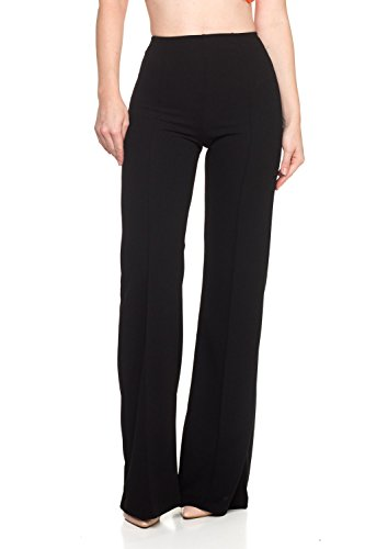 (Women's Junior Plus J2 Love High Waist Bell Bottom Flare Pants, 1X, Black)
