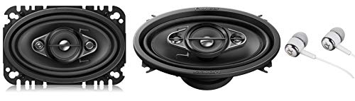 "Pioneer TS-A4670F 4"" x 6"" 210 Watts Max 4-Way A-Series Car Audio Coaxial Speakers with Carbon and Mica Reinforced IMPP Woofer/Free ALPHASONIK Earbuds"