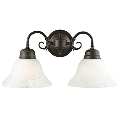 Design House 514471 Millbridge 2 Light Wall Light, Oil Rubbed Bronze - Made of formed steel, crisp Alabaster glass and finished in Oil Rubbed Bronze Measuring 8.5-inches (H) by 17.5-inches (w), this 3.5-Pound fixture can be mounted facing up or down depending on location and preference 2-Light wall mount is rated for 120-Volts and uses (2) 60-watt medium base incandescent bulbs - bathroom-lights, bathroom-fixtures-hardware, bathroom - 31UABr8QkVL. SS400  -
