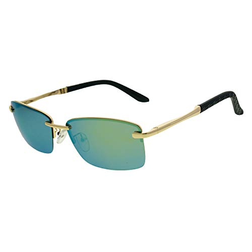 - Zacway Rimless Polarized Spring Hinges Metal Predator Sunglasses UV400 60mm (Gold Frame/Mirror Gold Lens, 60)