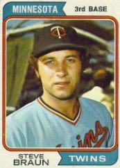 1974 Topps Baseball Anniversary card #321 Steve Braun Excellent Mint
