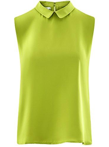6a00n Vert Basique oodji Blouse Ultra Col Femme Manches sans wC68qP0
