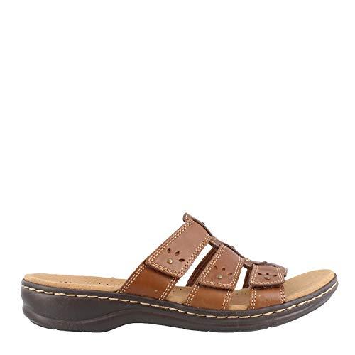 CLARKS Women's Leisa Spring Sandal, Brown Multi Leather, 100 N US