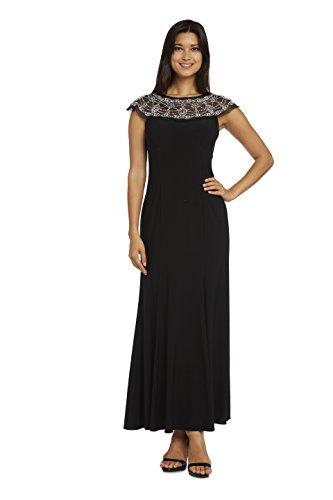 R & M Richards Black Polyester-blended Beaded Gown 16