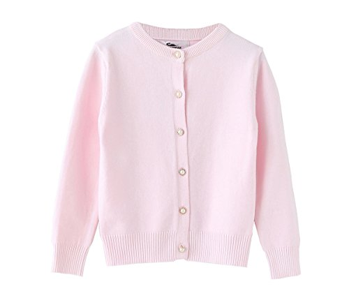 SMILING PINKER Little Girls Crewneck Cardigans Button Knitted Uniform Sweaters Solid Long Sleeves(4-5,Pink) (Cardigan Girls Pink Sweater)