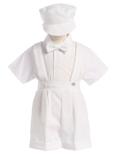 Lito Boy Christening Outfit - White Christening Baptism Suspenders and Short Set with Hat - Size L (12-18 Month)