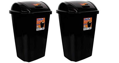 Heftys Swing-Lid 13.5-Gallon Trash Can, Black (2)