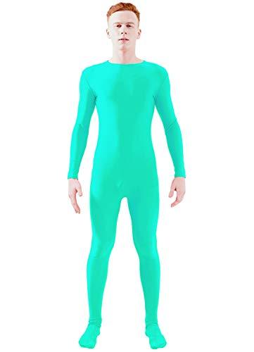 - Ensnovo Adult Lycra Spandex One Piece Unitard Full Bodysuit Costume Mint Blue, M