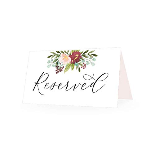 25 Marsala Floral VIP Reserved Sign Tent Place Cards For Table at Restaurant, Wedding Reception, Church, Business Office Board Meeting, Holiday Christmas Party, Printed Seating Reservation Accessories ()
