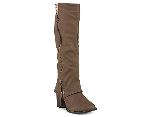 Twisted Womens Tall Zipper Insert Kitten Heel Fashion Boot with Sequin Underlay - LISA70 LT TAUPE, Size 10