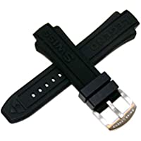 Swiss Legend 15MM Black Silicone Band Strap with Silver Stainless Buckle fits 40/44mm Neptune Watch
