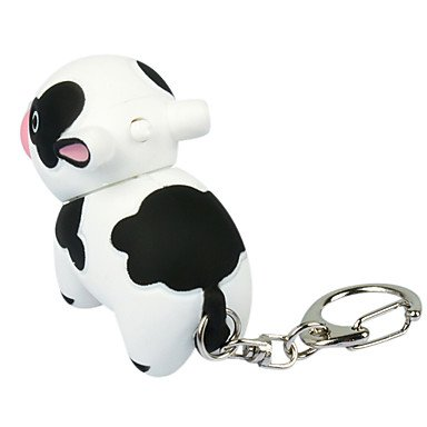 WWM& amp; Animal estilo vaca forma LED luz plástico llavero ...