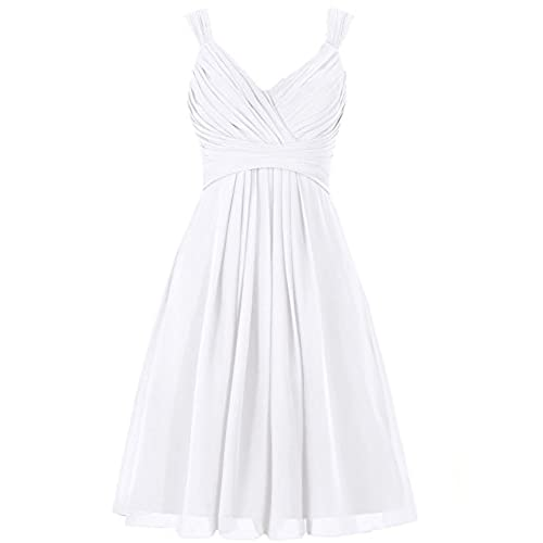 ELLAGOWNS Women's V Neck Chiffon Bridesmaid Dress Short Prom Gown White US  14