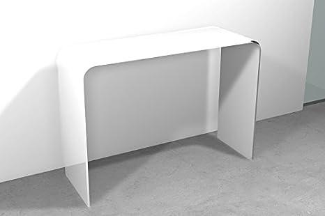 Tavolo Consolle vetro Ponte Cm 120 x 40 x h.72, Colore: Bianco Art ...