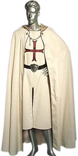 Medieval Renaissance Knight Tunic Red Crusader Cloak/Surcoat with Hooded Cap LARP ()