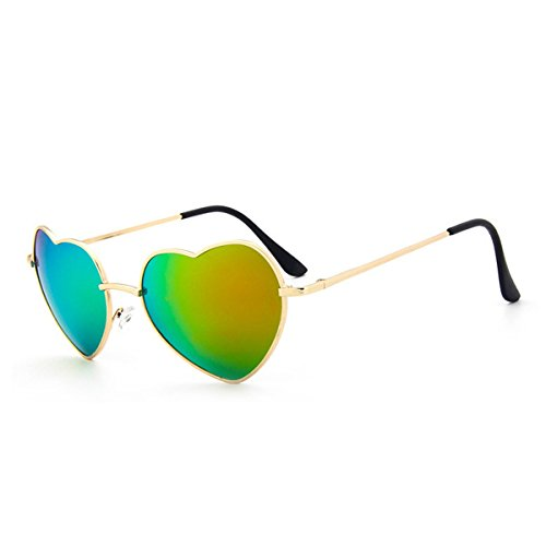 UNIQUEBELLA Lunettes de soleil Femme Mode UV400 Cœur #7 Coloré Vert oSg3N