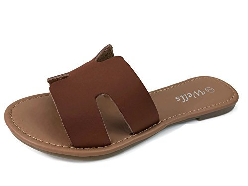 Wells Collection Womens Slip On Slide Flat Sandal with Notch Cut-Outs, Tan 8.5