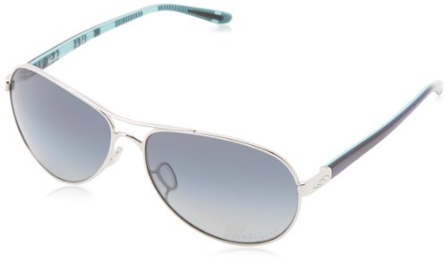 Oakley Women's OO4079 Feedback Aviator Metal Sunglasses, Polished Chrome/Grey Gradient Polarized, 59 mm