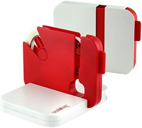 Sealabag Gerät zum Beutelverschließen, flach zusammenklappbar nach Gebrauch, für 9-mm- und 12-mm-Klebeband, inkl. 5 Klebebandrollen, rot