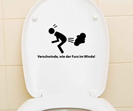 Toiletten Sticker Klodeckel Tattoo Wandtattoo Toilettendeckel Badezimmer T/ür 3C023 Bad Spruch lustig Furz im Winde Aufkleber WC Deckel Farbe:Azurblau glanz Breite vom Motiv:25cm