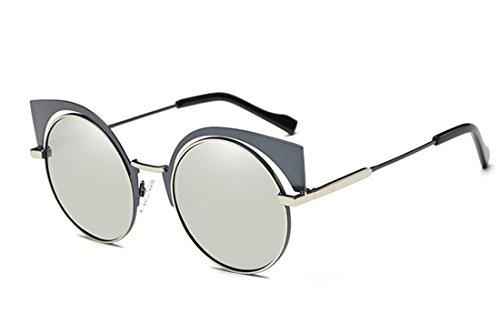 Price comparison product image GAMT Retro Polarized Cat Eye Round Metal Sunglasses Design for Women Gun Frame White Mercury