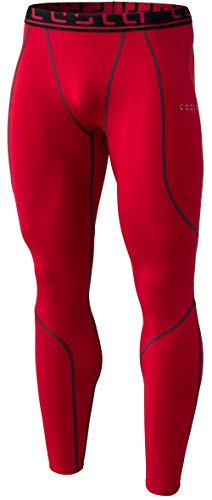 TM-YUP43-RED_Large Tesla Men's Thermal Wintergear Compression Baselayer Pants Leggings Tights YUP43