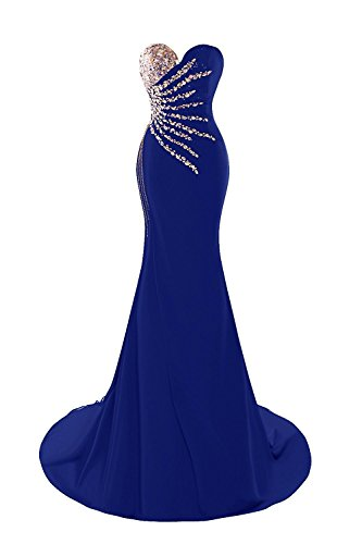 Beaded Strapless Prom Dress - M Bridal Women's Beaded Rhinestones Strapless Lace-up Mermaid Formal Prom Dress Royal Blue Size 4