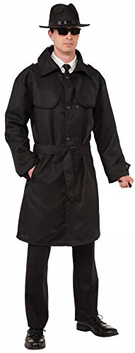 Forum Novelties Men's Secret Agent Spy Trench Coat, Black, One - Men In Black Agent