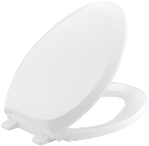 (KOHLER K-4713-0 French Curve Quiet-Close with Grip-Tight Bumpers Elongated Toilet Seat, White)