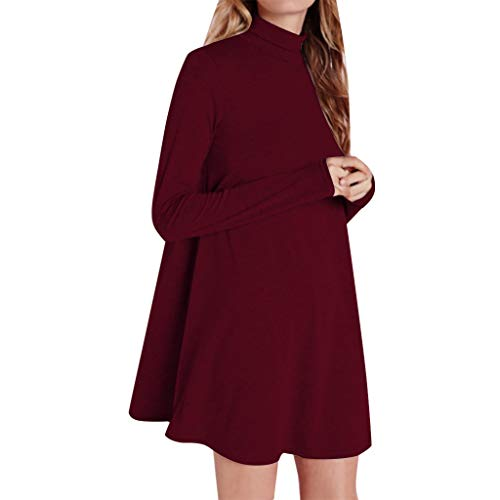 TIFENNY Fall Pullover for Women Solid Color Long Sleeve High Neck Casual Dress Mini Dress 2019 Long Tops Blouse Red
