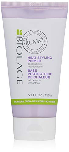 BIOLAGE R.A.W. Heat Styling Primer with Coconut Milk and Meadowfoam, 5.1 Fl Oz