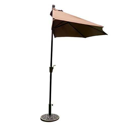 easygo-9-half-umbrella-200g-polyester-patio-outdoor-awning-hut-parasol-with-crank-5-steel-ribs-alumi